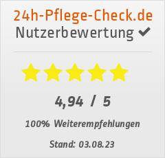 Bewertungen von Irmer Pflegevermittlung bei 24h-pflege-check.de
